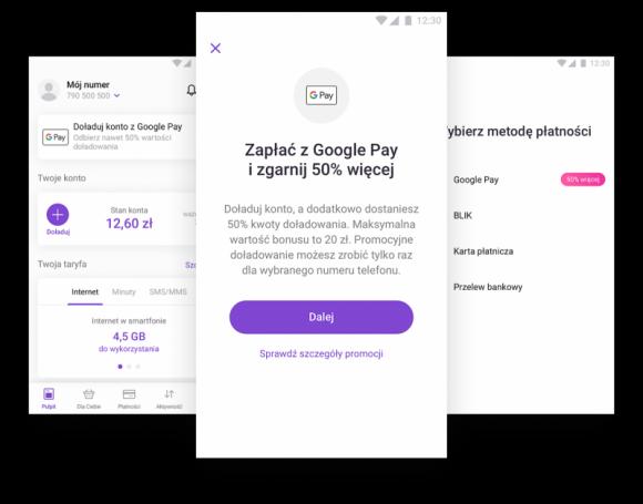 Doładuj konto w aplikacji Play24 z Google Pay i odbierz bonus od Play LIFESTYLE, IT i technologie - Operator Play przy współpracy z Google Pay przygotował prostą promocję, dzięki której można w łatwy sposób zyskać 50% kwoty doładowania przy zasileniu do 40 PLN, lub dodatkowe 20 PLN przy doładowaniach powyżej tej kwoty.